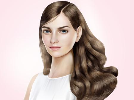 Modelo de cabello atractivo, hermosa mujer con cabello largo brillante en la ilustración 3d, fondo rosa