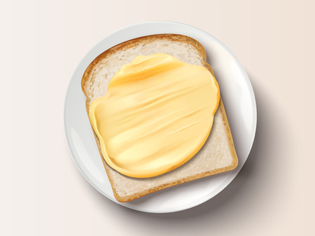 Butter spreading on bread, top view of delicious toast in 3d illustration