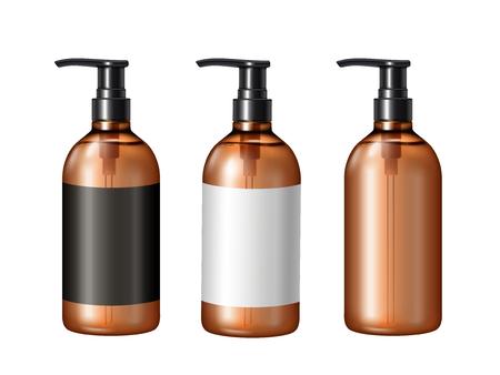 ブランクポンプモックアップ、デザイン用ラベル付きの3つの化粧品容器、白い背景に分離された3Dイラスト