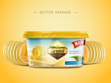 Creamy butter package design, curl butter elements in 3d illustration