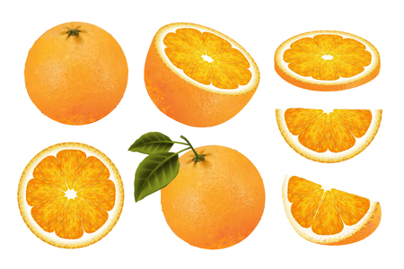 Fresh orange fruit set, juicy orange isolated on white background in 3d illustration Ilustracja
