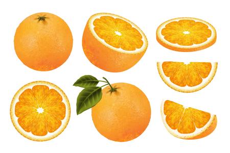 Fresh orange fruit set, juicy orange isolated on white background in 3d illustration Stock Illustratie