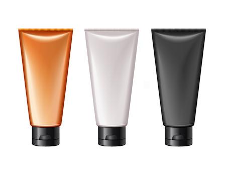 ブランクチューブモックアップ、デザイン用の3つの化粧品容器は、白い背景に分離された3Dイラストで使用