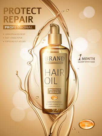Hair oil ads, splashing liquid and pump bottle in 3d illustration, golden glitter bokeh background