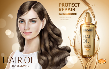 Hair oil ads, attractive hair model with golden color hair oil products in 3d illustration, bokeh glitter golden color background  イラスト・ベクター素材