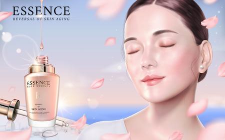 Rose essence ads, elegant model with droplet bottle and flying petals in 3d illustration, bokeh nature background  イラスト・ベクター素材