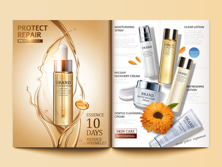 Cosmetic magazine template, golden hair oil and skin care products in 3d illustration Vettoriali