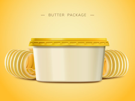 Creamy butter blank container, curl butter elements in 3d illustration