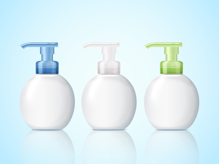 Blank pump bottle set, cosmetic container mockup with empty space for design uses in 3d illustration, blue background