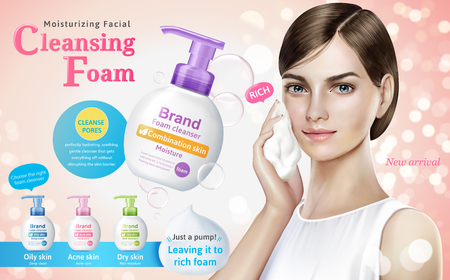 Cleansing foam ads, attractive model with cleansing foam products and bubbles elements in 3d illustration, bokeh glitter pink background  イラスト・ベクター素材