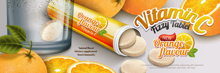 Fizzy tablet ads, healthy orange flavor supplement with rich vitamin C in 3d illustration