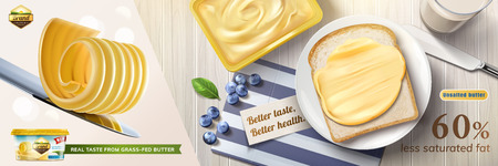 Creamy butter ads, butter curls on knife with some spreading on toast in 3d illustration, top view of delicious breakfast 일러스트