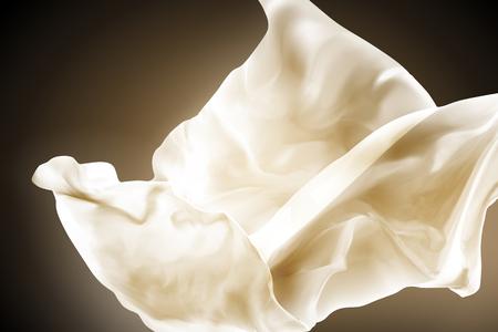Gasa voladora beige, paño ligero que fluye en el aire como fondo en la ilustración 3d Foto de archivo - 99280866