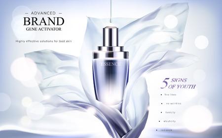 Wesentliche Produktanzeigen, Tröpfchenflasche mit fliegendem Chiffon- Element in der Illustration 3d, funkelnder bokeh Hintergrund