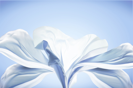 Blue chiffon design, flying fabric in 3d illustration on blue background