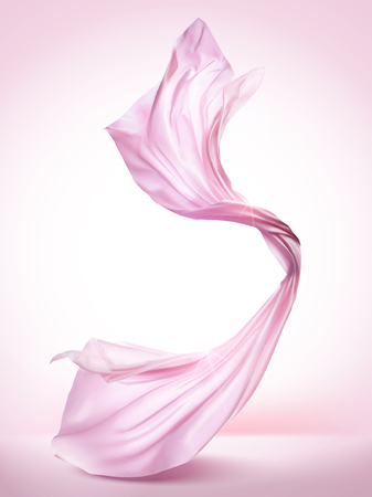Pink chiffon elements, flying cloth on pink background in 3d illustration