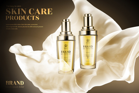 Skin care product ads, droplet bottles with flying light chiffon in 3d illustration