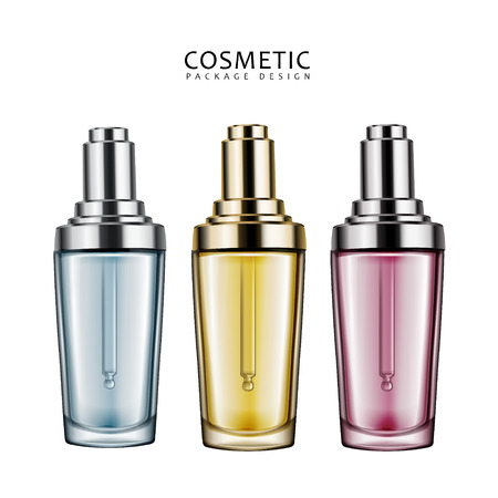 Cosmetic package design, three droplet bottles collection in 3d illustration on white background Illusztráció