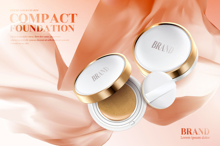 Compact foundation ads, golden frame compact with puff isolated on peach color flying chiffon in 3d illustration
