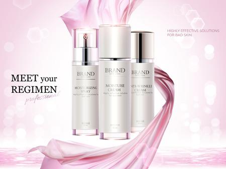 化粧品広告、3Dイラストでピンクのシフォン要素を使用したスキンケアコンテナセット、ボケキラキラ背景