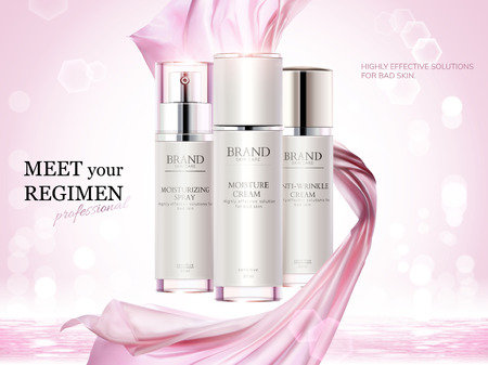 Cosmetic product ads, skincare container set with pink chiffon elements in 3d illustration, bokeh glitter background