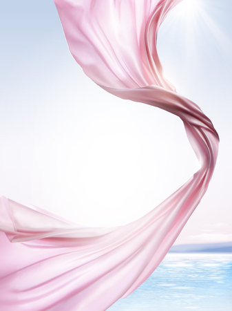 Pink chiffon elements, flying cloth on ocean background in 3d illustration