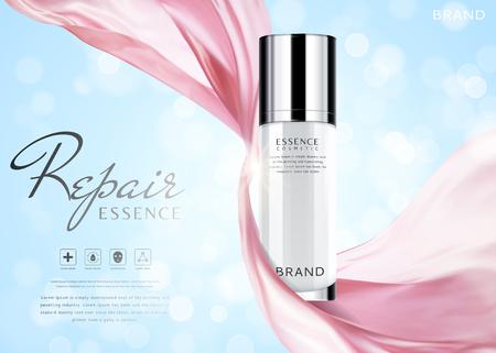 Eleganckie reklamy esencji, pojemnik do pielęgnacji skóry z latającym szyfonem na błyszczącym niebieskim tle w ilustracji 3d