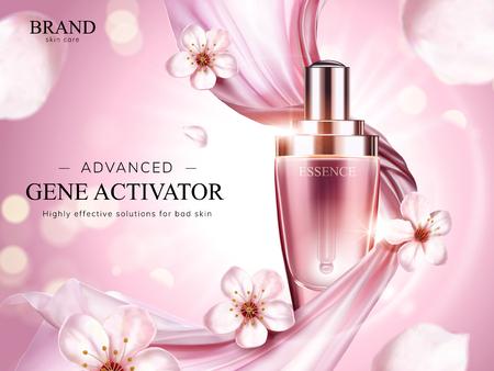 Essentie-productadvertenties, prachtige druppelfles met roze zachte chiffon en vliegende sakurabloemblaadjes in 3d illustratie