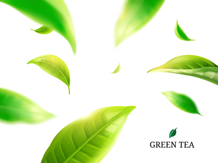Green tea leaves flying around on white background in 3d illustration