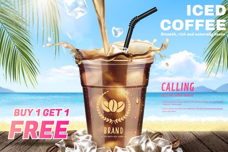 Iced coffee pouring down into a takeaway cup on attractive resort background in 3d illustration Stock Illustratie