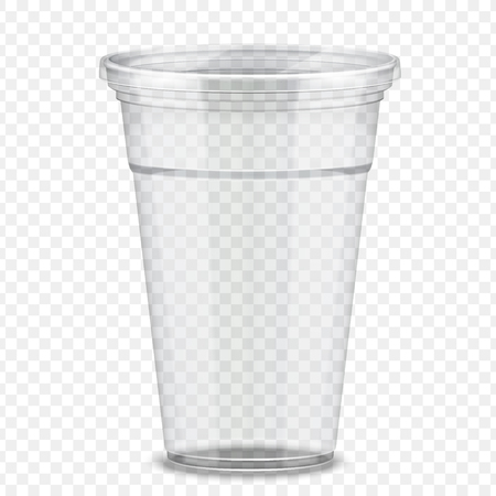 Transparent plastic takeaway cup in 3d illustration  イラスト・ベクター素材