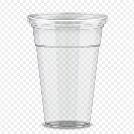 Transparent plastic takeaway cup in 3d illustration Illustration