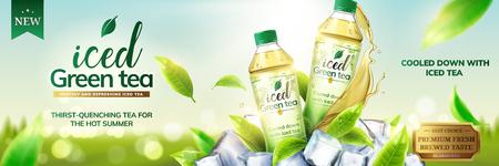 Annunci di tè verde ghiacciato con bottiglie su cubetti di ghiaccio e foglie che volano intorno a loro, illustrazione 3d su sfondo bokeh di fondo