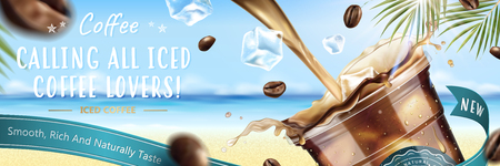 Iced coffee pouring down into a takeaway cup with flying coffee beans on blurry resort background in 3d illustration