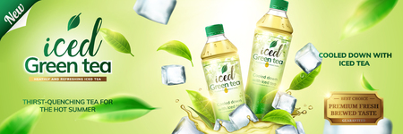 Iced green tea ads with bottles on ice cubs and leaves flying around them, 3d illustration on green background 向量圖像