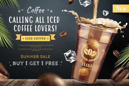 Iced coffee pouring down into a takeaway cup on blackboard background with flying coffee beans in 3d illustration 스톡 콘텐츠 - 101025817