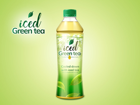 Green tea package design in 3d illustration on green background