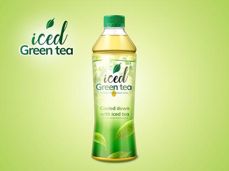Green tea package design in 3d illustration on green background