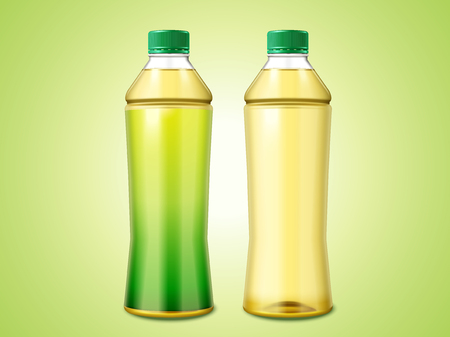 3d illustration two bottles of green tea, one with blank label and the other one without 向量圖像