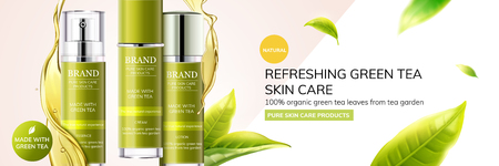 Refreshing green tea skin care products with leaves flying in the air on geometry background, 3d illustration