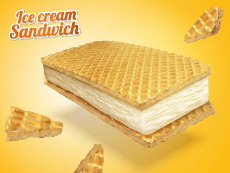 Ice cream sandwich with wafer cookies and milk fillings in 3d illustration, chrome yellow background Illustration