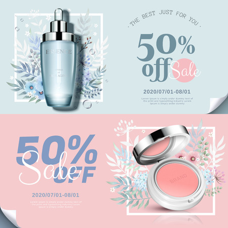 Trendy cosmetic products banner with cheek blush and essence bottle in 3d illustration, watercolor hand drawn floral decorations Ilustração