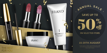 Trendy cosmetic product ads in gold and black tone, streamers falling down from sky in 3d illustration