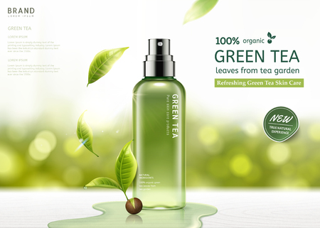 Green tea skin care spray bottle with leaves and waters on white wooden table in 3d illustration, bokeh glitter background