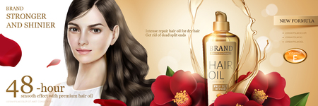 Camellia hair oil with beautiful long hair model and flower ingredient on glitter background in 3d illustration