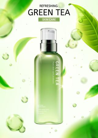 Botella de spray para el cuidado de la piel de té verde con hojas voladoras y gotas de agua en la ilustración 3d sobre fondo blanco