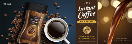 Instant coffee with liquid pouring down and top view of black coffee and beans, 3d illustration