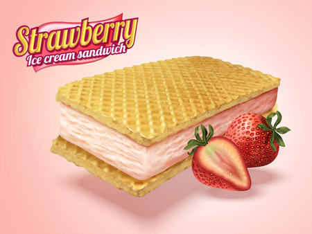 Ice cream sandwich with wafer cookies and strawberry fillings in 3d illustration, light pink background Illustration
