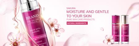 Anuncios de cuidado de la piel de Sakura con flor de cerezo volando en el aire en ilustración 3d, fondo rosa claro