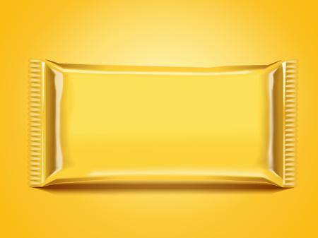 Blank foil bag package design in yellow, 3d illustration Ilustração